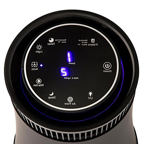 SilverOnyx Air Purifier Home with Carbon Filter, Ionizer. Best for and Pets, Smoke, Powerful Large Room 500 sq Black