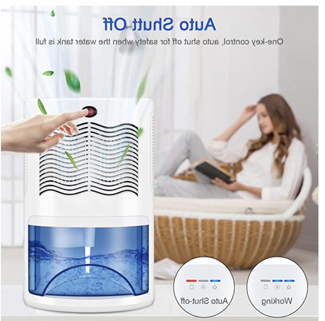 Small Dehumidifier with 2000ml Removes Moisture &