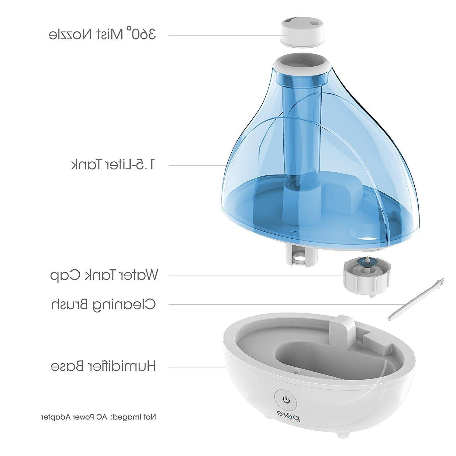 Pure Ultrasonic Cool Mist Humidifier White Base Blue Tank