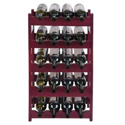Wood 20 Wine Display Rack, Standing Bottles Storage Shelf US